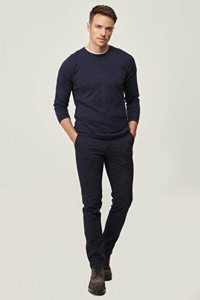 Erkek Lacivert Kanvas Slim Fit Dar Kesim Yan Cep %100 Koton Chino Pantolon