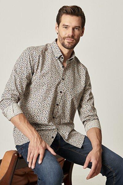 Erkek HAKI-LACI Tailored Slim Fit Düğmeli Yaka Baskılı Gömlek