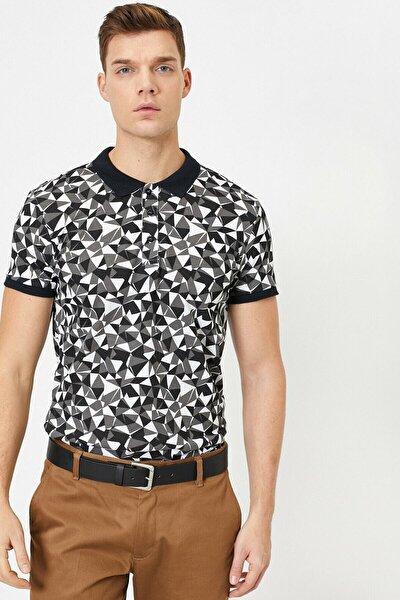 Erkek Siyah Desenli T-Shirt 0YAM11555HK