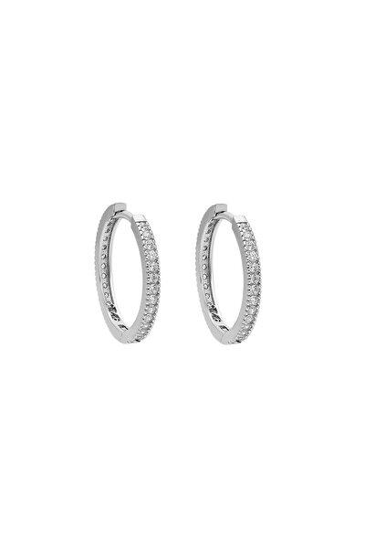 15 Mm. Zirkon Taşlı Bayan Gümüş Halka Küpe Ei01-15