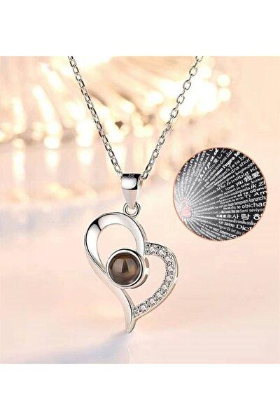 100 Dilde Seni Seviyorum Zirkon Taşlı Kalp Kolye Gümüş