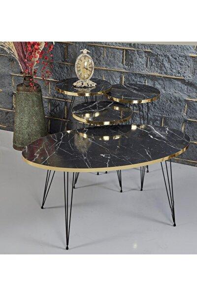Rupon Home 3 Lü Zigon Orta Sehpa Takımı-siyah Mermer Desenli Gold