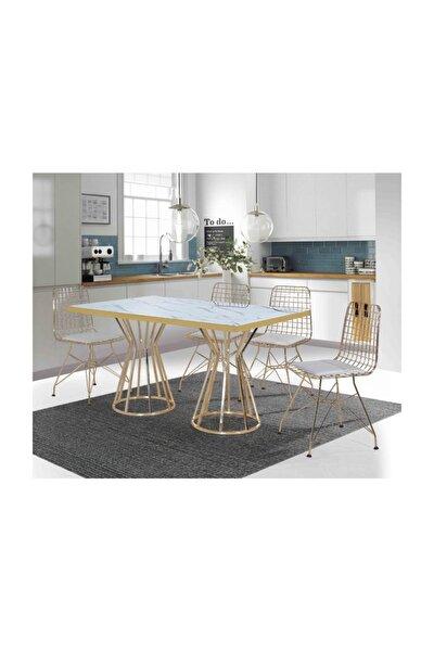 Home Parla 4 Kişilik Metal Mutfak Masası Tel Sandalyeli