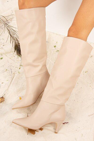 Kadın Ten Suni Deri Çizme J749205309