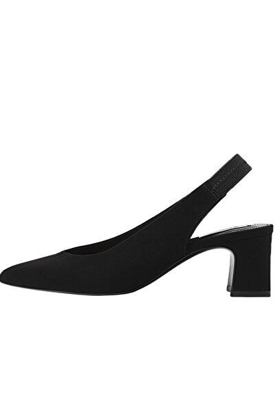 Kadın Siyah Sivri Burunlu Arkası Açık Topuklu Ayakkabı 19150770