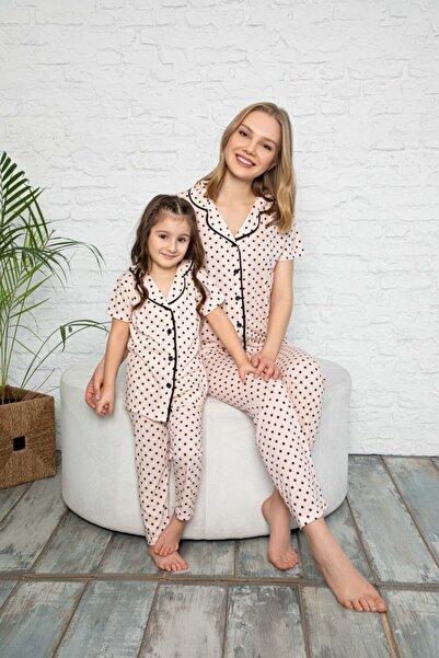 Anne Kız Puantiyeli Desen Pijama Kombinleri (Tek tek sepete eklemeniz gerekmektedir)