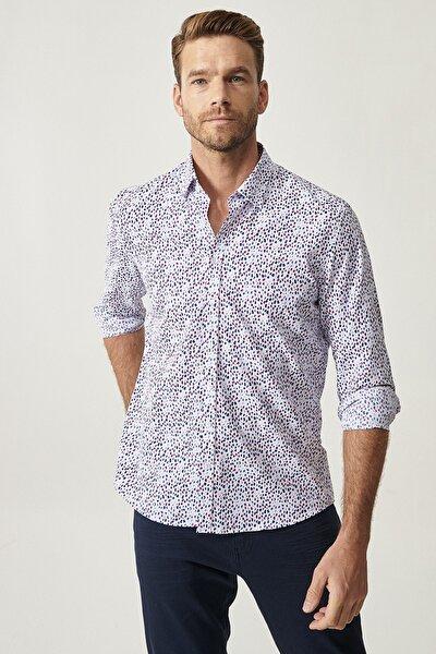 Erkek Beyaz-Lacivert Tailored Slim Fit Gömlek