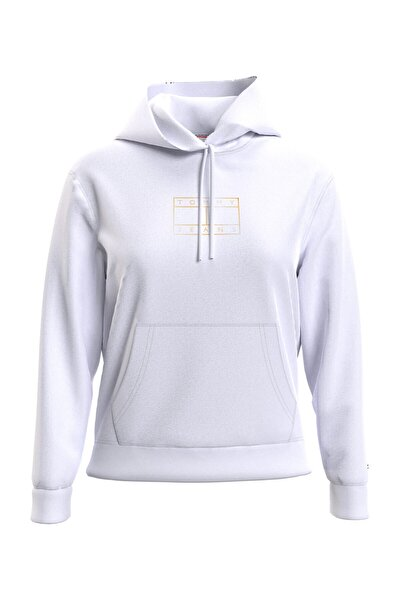 Kadın Beyaz Sweatshirt Tjw Outlıne Flag Hoodıe DW0DW08985YBR
