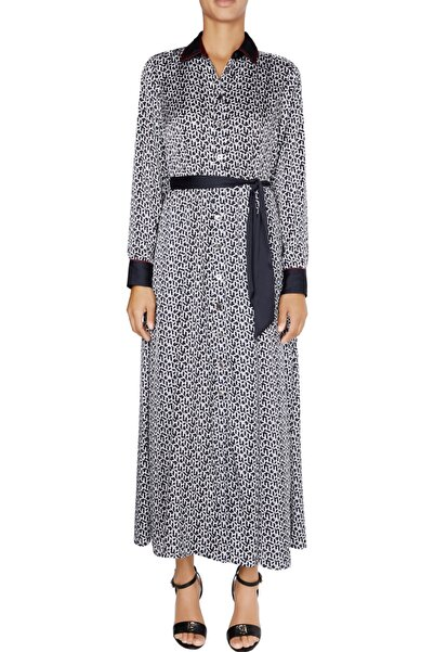Kadın Mavi Elbise Icon Tılda Maxı Shırt Dress Ls WW0WW28523