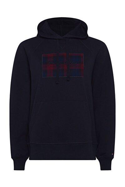 Kadın Mavi Sweatshirt Regular Check Hoodıe  Ls WW0WW28923