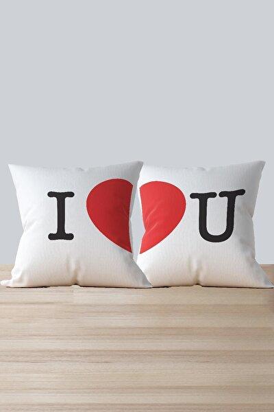 Özel Tasarım 2'li Kombin Kırlent I Love You - Kalp