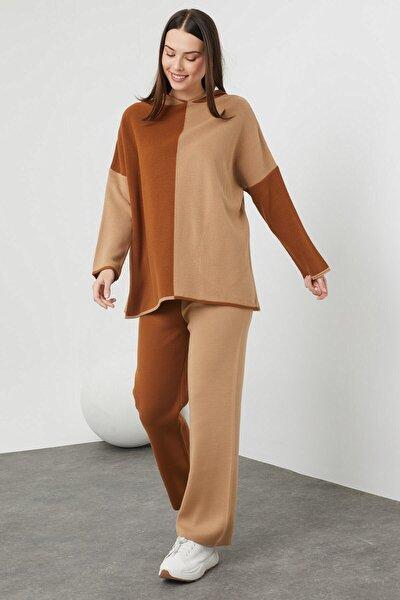 Kadın Kapşonlu Oversize Triko Takım