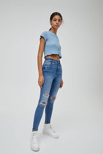 Kadın Mavi Distressed Yüksek Bel Jean