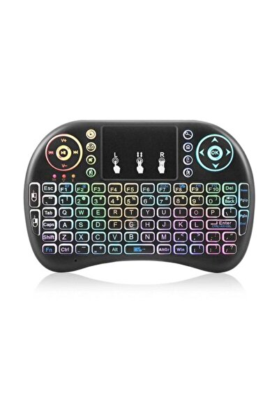 Kablosuz Led Işıklı Bluetooth Türkçe Mini Klavye Mouse Smart Tv Box - Siyah