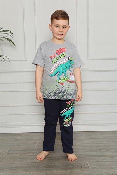 Çocuk Gri Dinozor Baskılı Kısa Kollu Pijama Takımı 2727-1