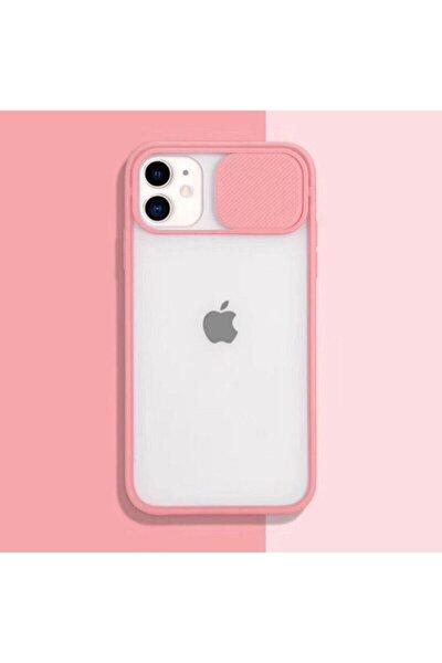 İphone 11 Uyumlu Pembe  6.1 Inch Kamera Kapatan Sürgülü Tam Koruma Kılıf