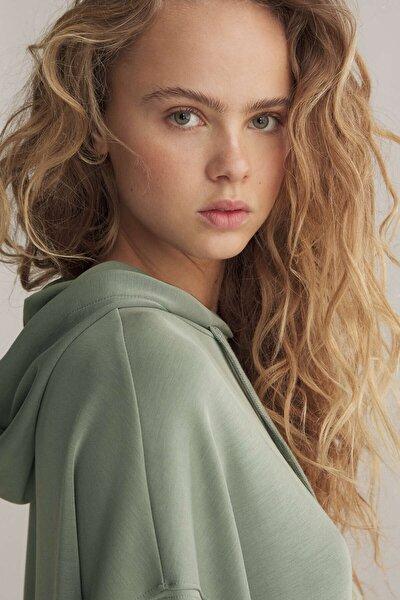 Kadın Yeşil Yumuşak Dokulu Modal Uzun Sweatshirt