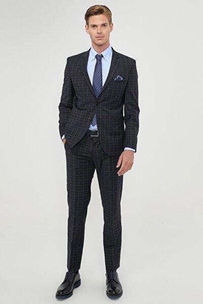 ERKEK Siyah-Mavi Slim Fit Dar Kesim Su Geçirmez Yünlü Nano Takım Elbise