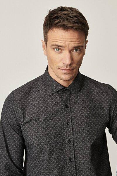 Erkek Siyah-Gri Tailored Slim Fit Dar Kesim İtalyan Yaka Baskılı Gömlek