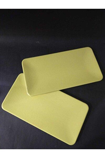 Sarı Kütahya 33 cm 2'li Kayık Tabak