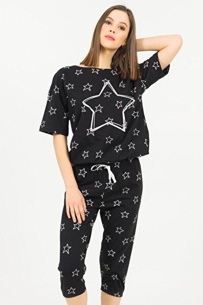Pamuklu Düşük Omuzlu Kısa Kol Kaprili Pijama Takım