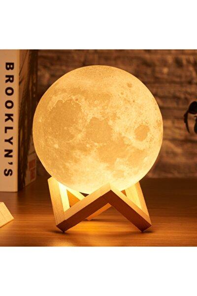 3d Standlı Büyük Boy Ay Gece Lambası Hediyelik Küre Led Başucu Lambası (48cm Çevre)