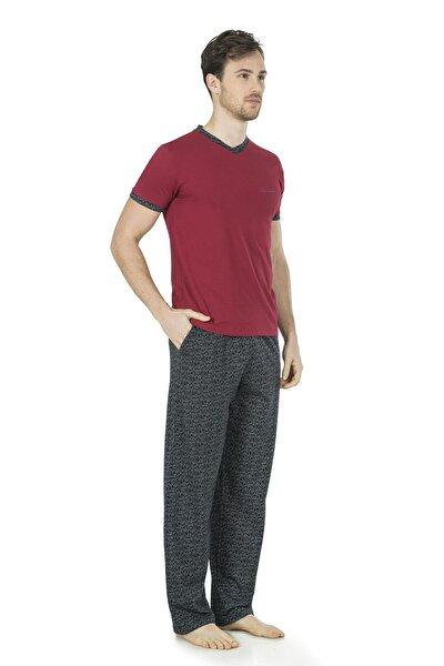 Erkek Bordo V Yaka Kısa Kollu 3'lü Penye Pijama Takımı