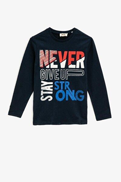Erkek Çocuk Lacivert Pamuklu Bisiklet Yaka Uzun Kollu T-shirt
