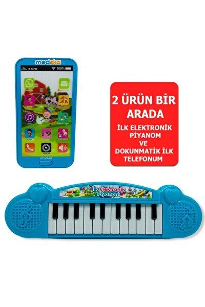 Türkçe Müzikli Hayvan Sesli Dokunmatik Telefon Mavi Ve Piyano 22 Tuşlu Sesli Ilk Elektronik Piyano