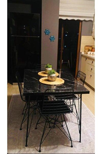 Defne 4 Kişilik 80x120 Yemek Masası Takımı-mutfak Masası Takımı-siyah Mermer Desenli