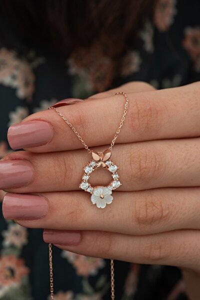 925 Ayar Kelebek Detay Manolya Çiçeği Kolye Kadın Gümüş Kolye