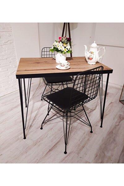 Royal Yemek Masa Takımı Mutfak Masası Cafe Masası 2 Tel Sandalye 1 Masa - Ceviz