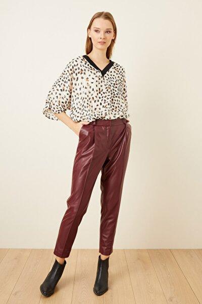 Kadın Bordo Boru Paça Deri Pantolon