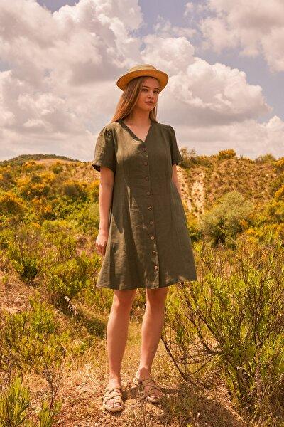 Kadın Yeşil V Yaka Keten Elbise