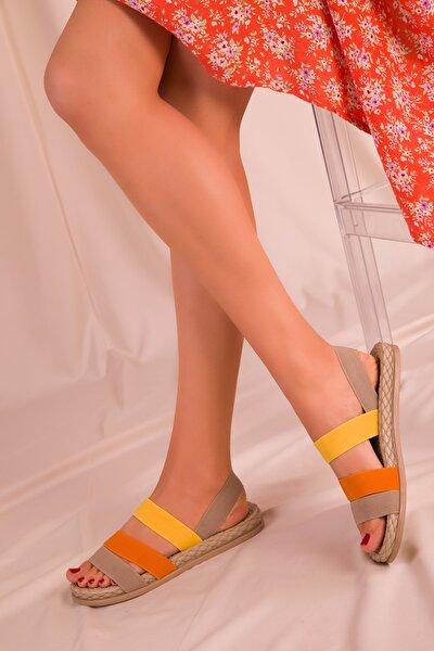 Vizon-orange-sari Kadın Sandalet 15098