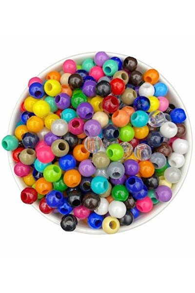 10mm Karışık Renkli Plastik Boncuk,renkli Geniş Delik Makrome Boncuğu (100gr,~200 Adet Boncuk)