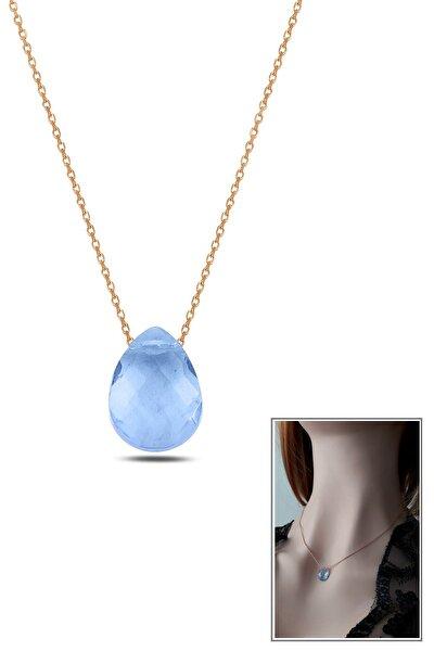 Kadın Mavi Kristal Damla Kolye Rose RGK30450