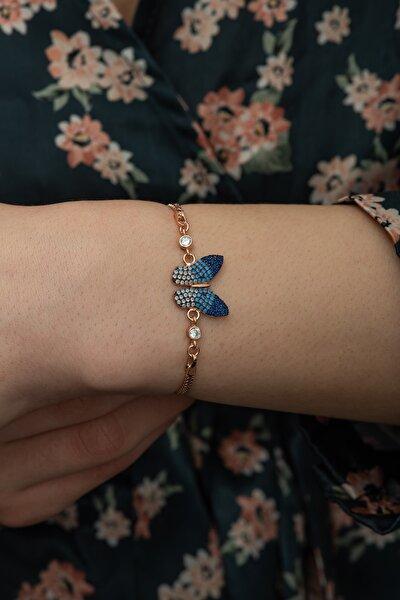 925 Ayar Renk Geçişli Kelebek Kadın Gümüş Bileklik