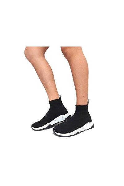 Kadın  Siyah Triko Streç Çorap Bot Sneaker Günlük Spor Ayakkabı
