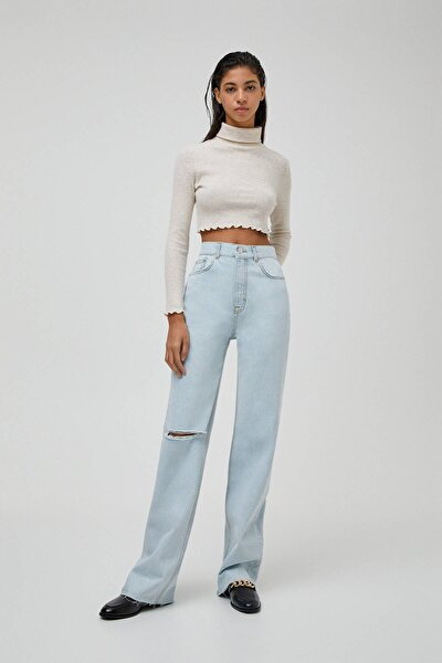 Kadın Açık Mavi Yüksek Bel Straight Fit Jean 04681313