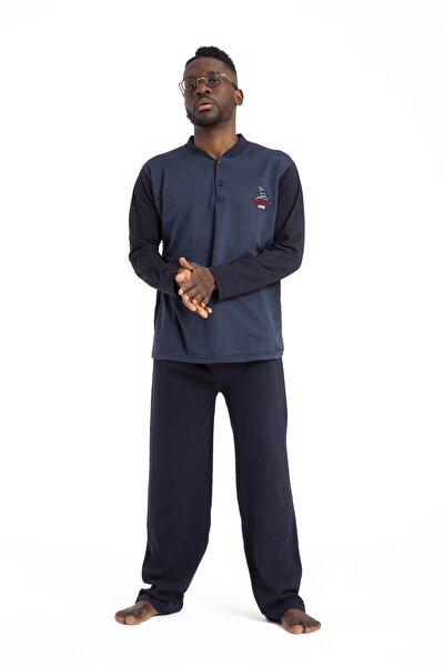 Erkek Mavi Pijama Takımı Uzun Kollu 1035 Pamuklu