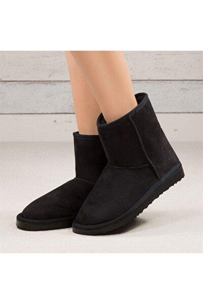 Kadın Kısa Siyah Içi Yünlü Bot Ayakkabı