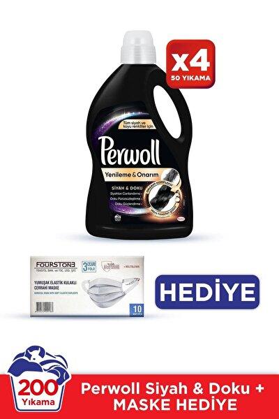 Hassas Bakım Sıvı Çamaşır Deterjanı 4x3L(200 Yıkama) Siyah Giysiler Yenileme&Onarım +10'lu Maske Hed