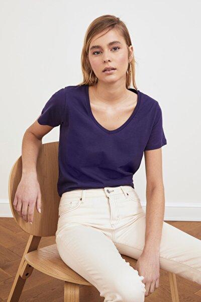 Lacivert %100 Pamuk V Yaka Basic Örme T-Shirt TWOSS20TS0129