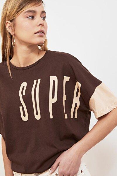 Kahverengi Baskılı Boyfriend Örme T-Shirt TWOSS20TS0827