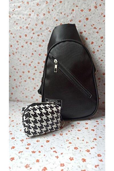 Siyah Tırtık Desen 2 Cepli Omuz Çanta