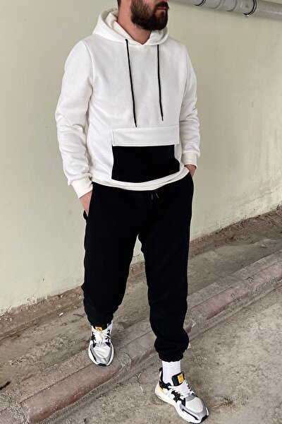 Erkek Kapaklı Cepli Kapşonlu Sweatshirt