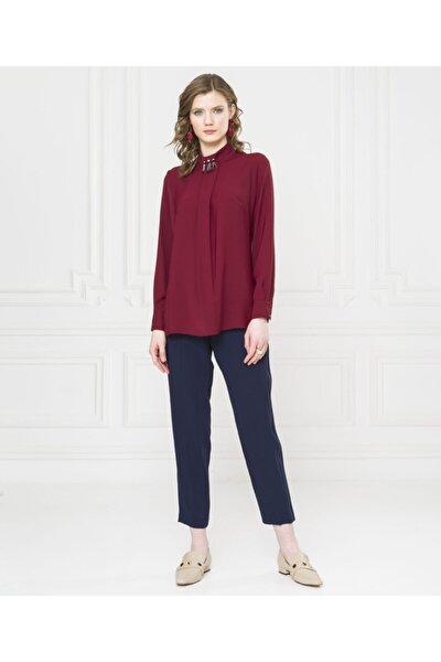 Kadın Bordo Dik Yaka Bluz U27509510