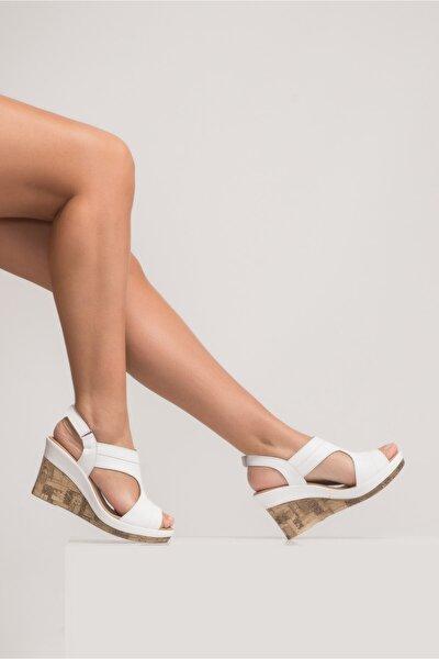 Kadın Beyaz Aditya Dolgu Topuk Sandalet