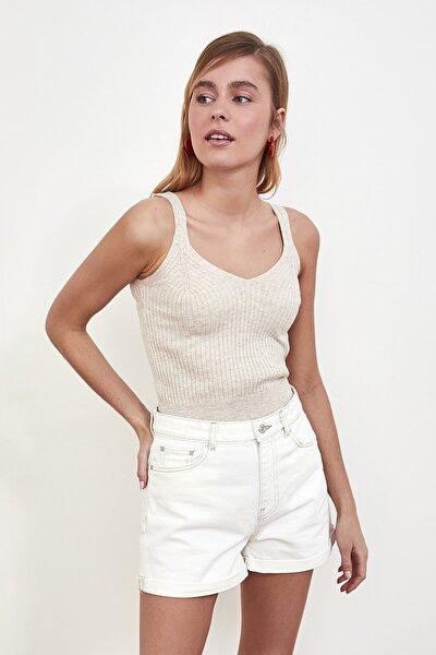 Taş V Yaka Askılı Triko Bluz TWOSS21BZ0193